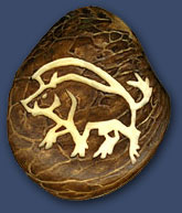 Boar Carved Tagua Pendant