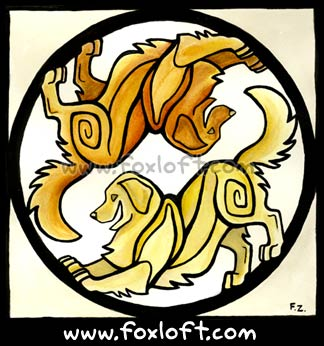 Yin Yang Dogs - Golden Retrievers - Playbow