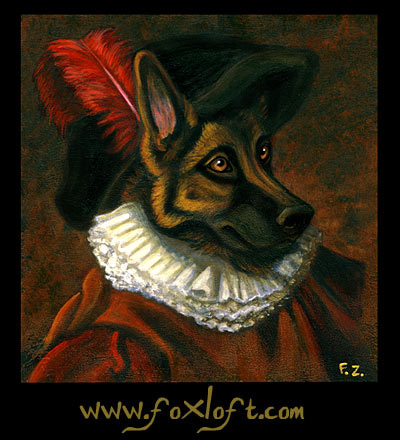 Renaissance German Shepherd Portrait