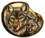 Wolf and pup tagua